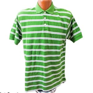 Finish Line Athletics Green Striped Polo Shirt